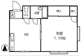 コーポむさしの208号室間取り図面 1DK バストイレ別 バイク置場あり