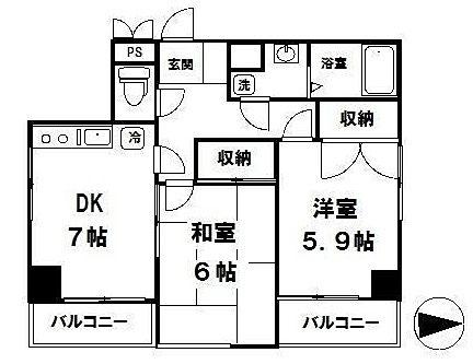マンション吾妻 303号室間取図面 国分寺駅徒歩4分