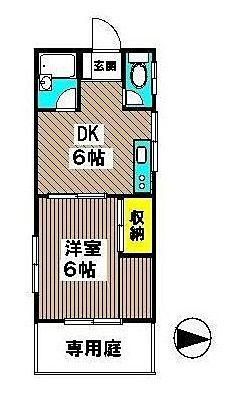 国分寺駅徒歩5分 コーポむさしの 106号室 間取図面