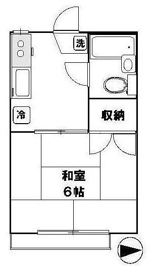 国分寺駅徒歩9分 バイク置場あり コーポむさしの 205号室 間取り図
